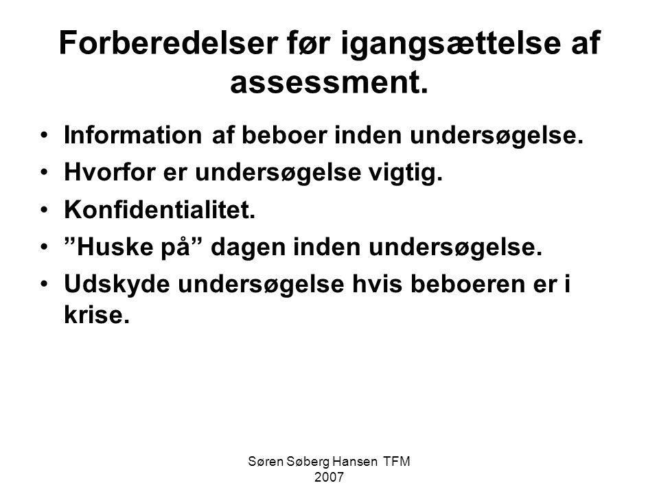 Forberedelser før igangsættelse af assessment.