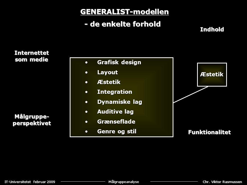GENERALIST-modellen - de enkelte forhold