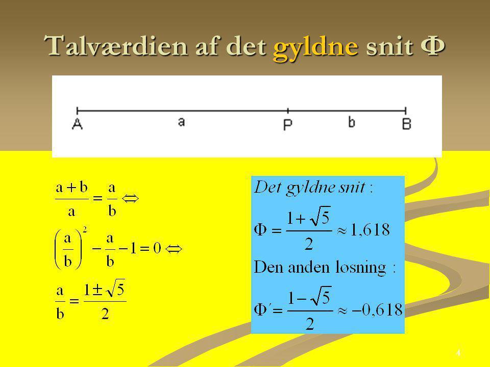 Talværdien af det gyldne snit Ф