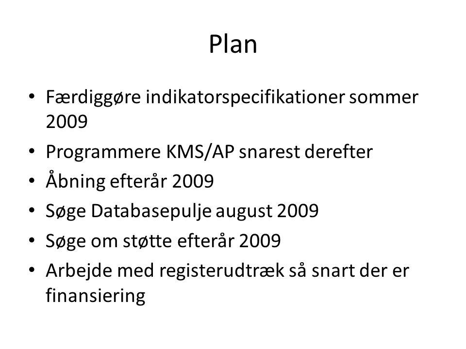 Plan Færdiggøre indikatorspecifikationer sommer 2009