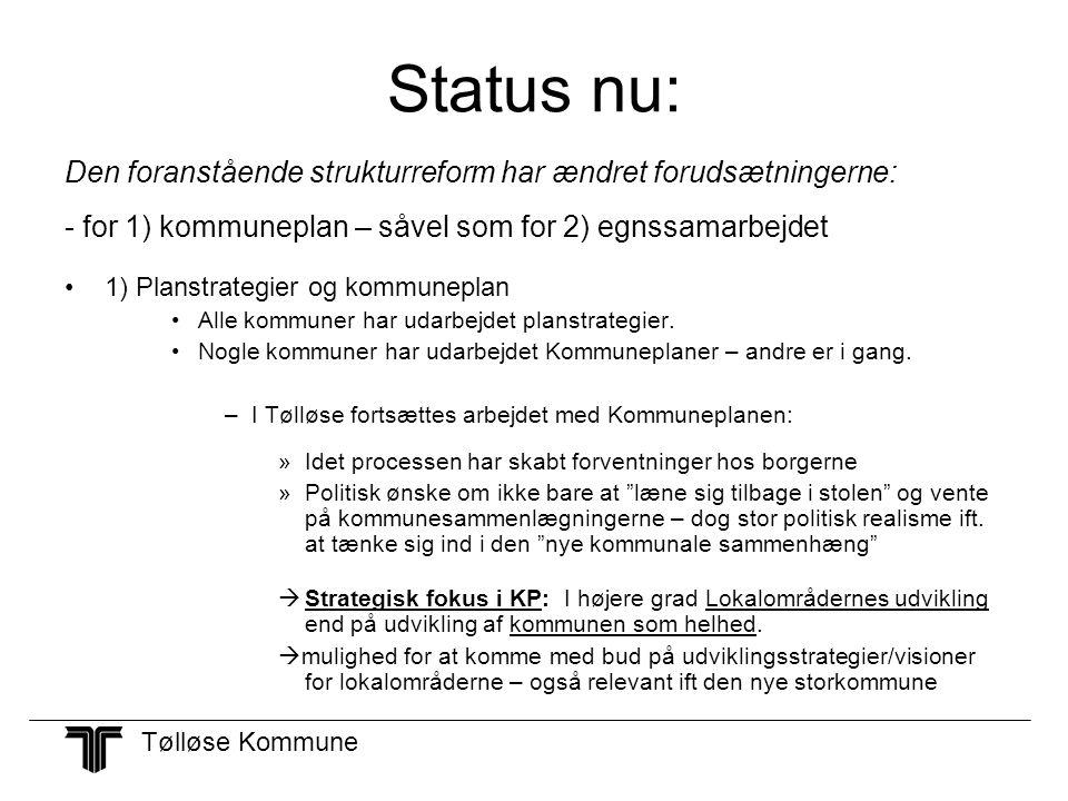 Status nu: Den foranstående strukturreform har ændret forudsætningerne: - for 1) kommuneplan – såvel som for 2) egnssamarbejdet.