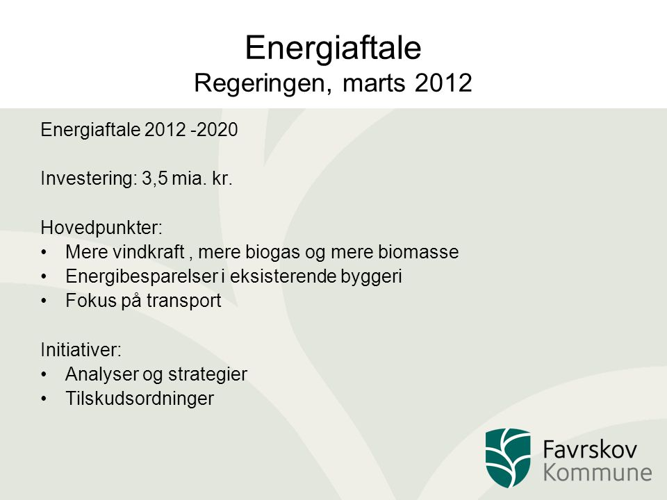 Energiaftale Regeringen, marts 2012