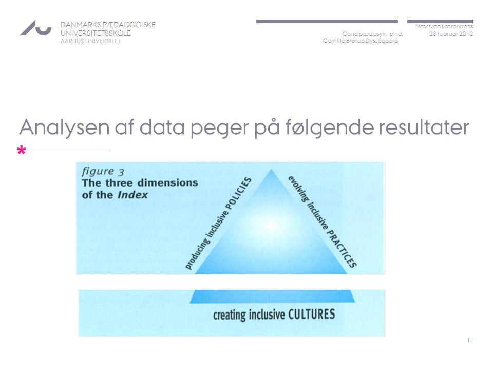 Analysen af data peger på følgende resultater