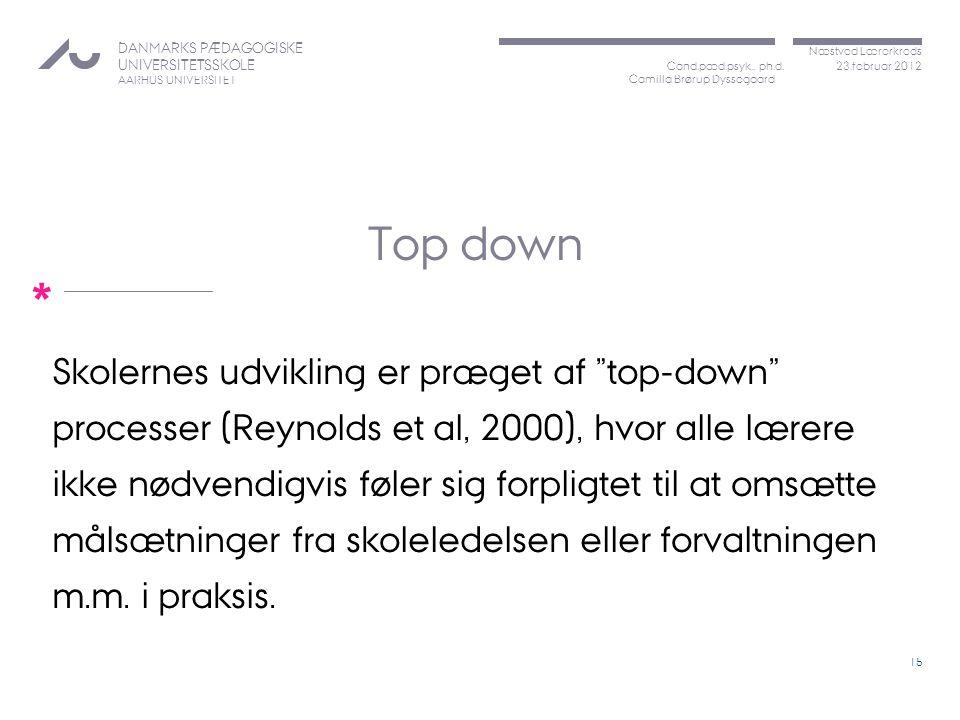 Top down processer (Reynolds et al, 2000), hvor alle lærere