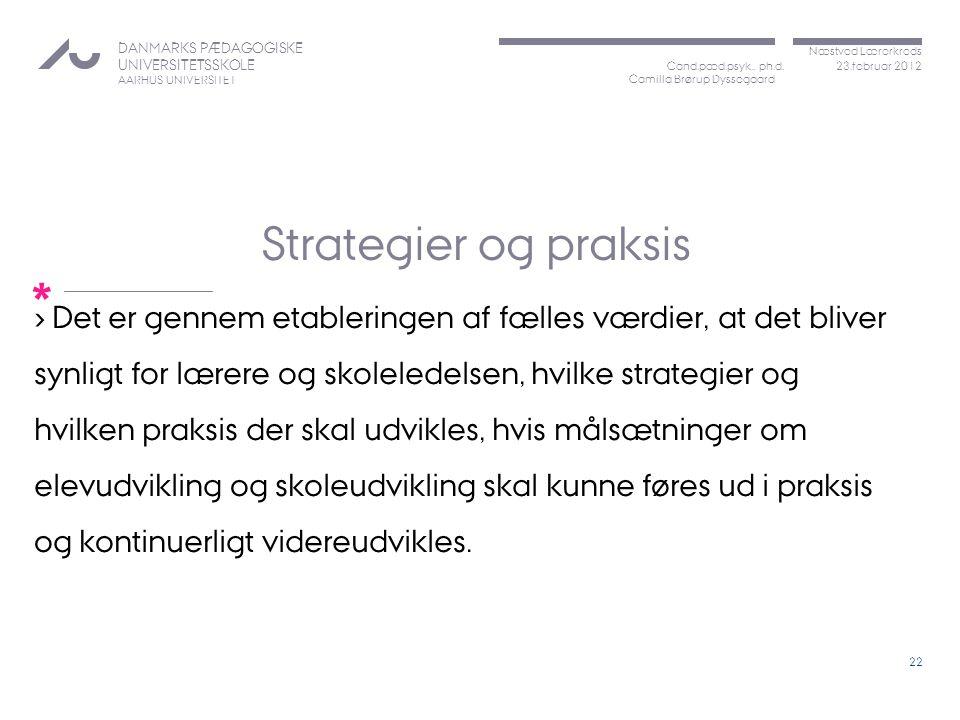 Strategier og praksis Det er gennem etableringen af fælles værdier, at det bliver. synligt for lærere og skoleledelsen, hvilke strategier og.