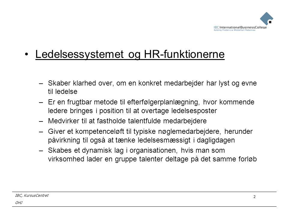 Ledelsessystemet og HR-funktionerne