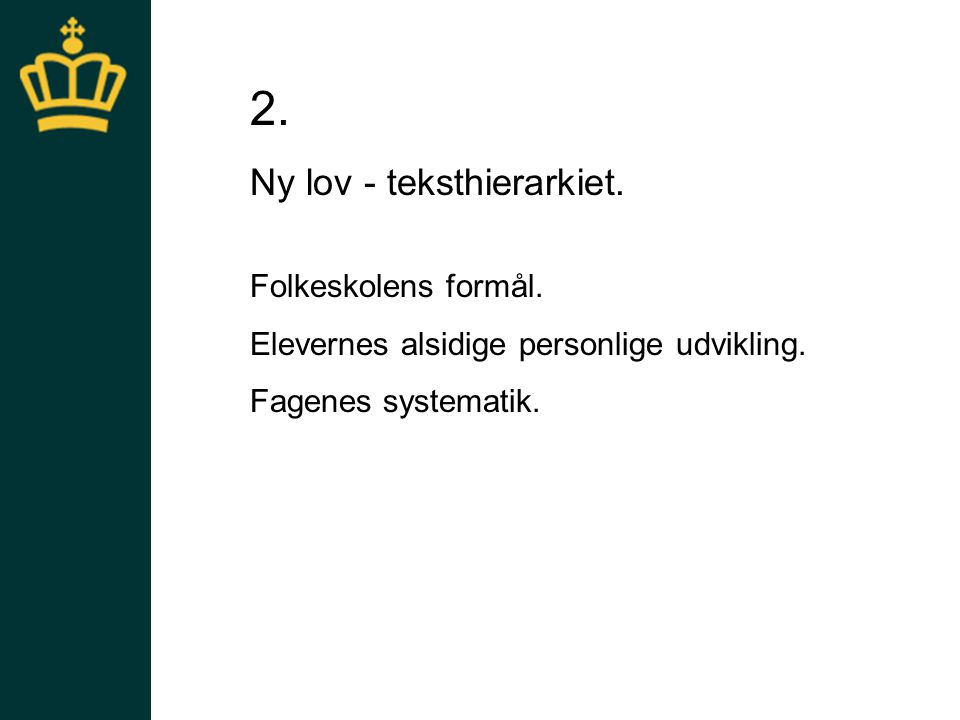 Ny lov - teksthierarkiet.