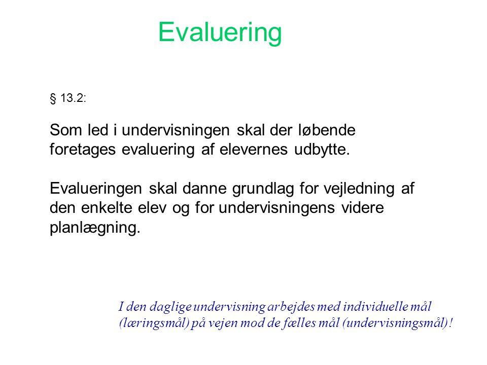 Evaluering Som led i undervisningen skal der løbende