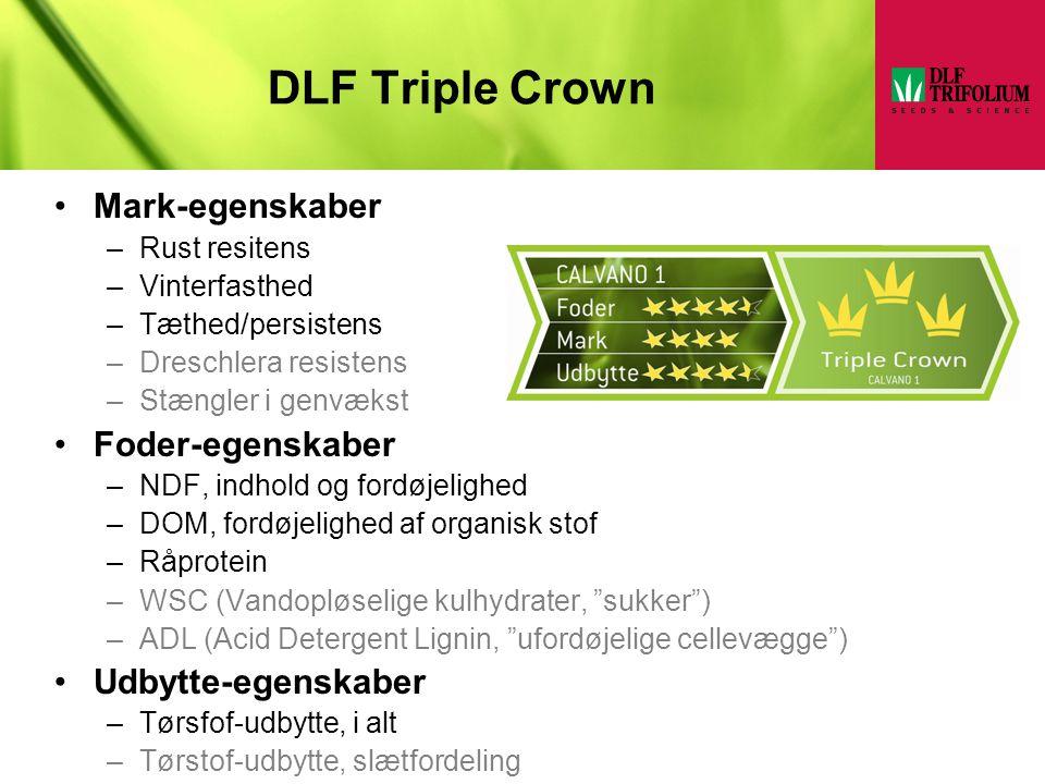 DLF Triple Crown Mark-egenskaber Foder-egenskaber Udbytte-egenskaber