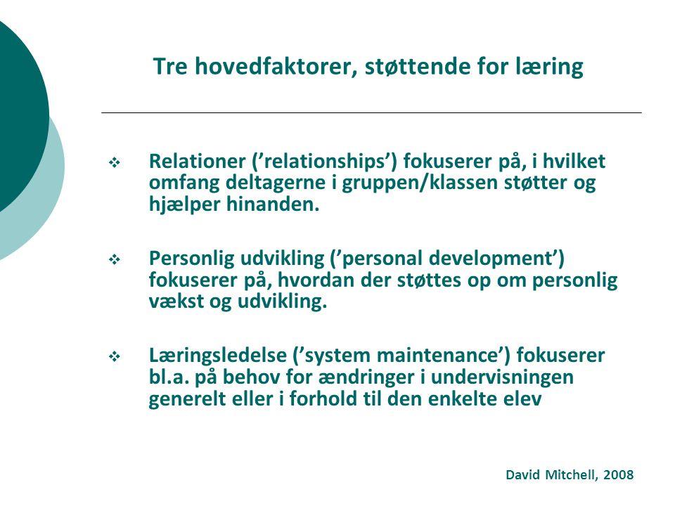 Tre hovedfaktorer, støttende for læring