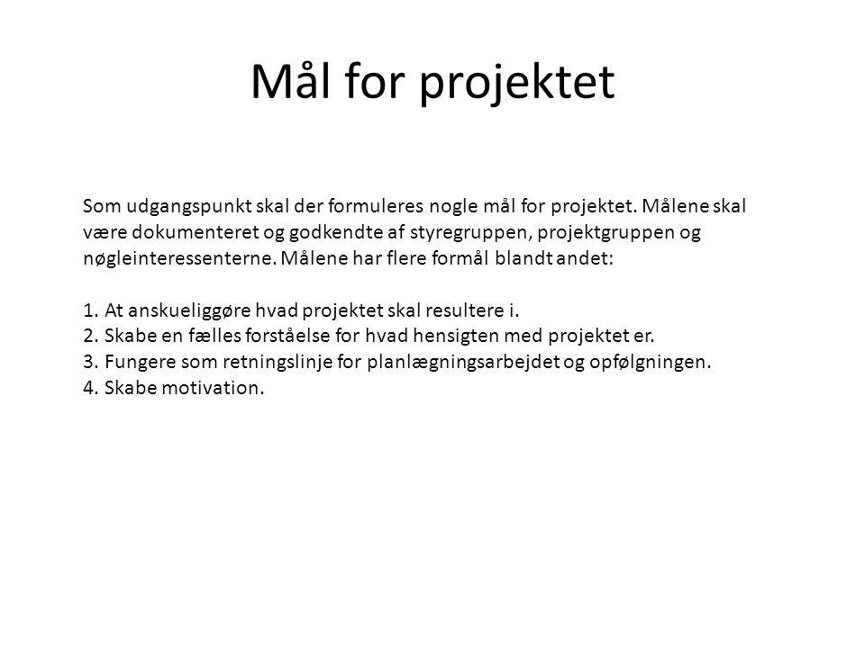 Mål for projektet