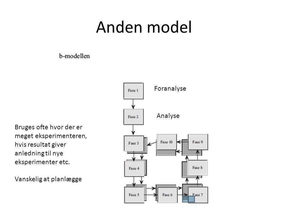 Anden model Foranalyse Analyse