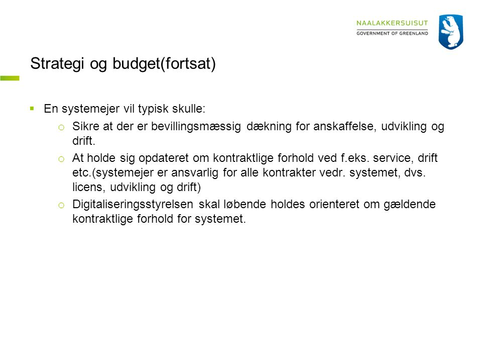 Strategi og budget(fortsat)