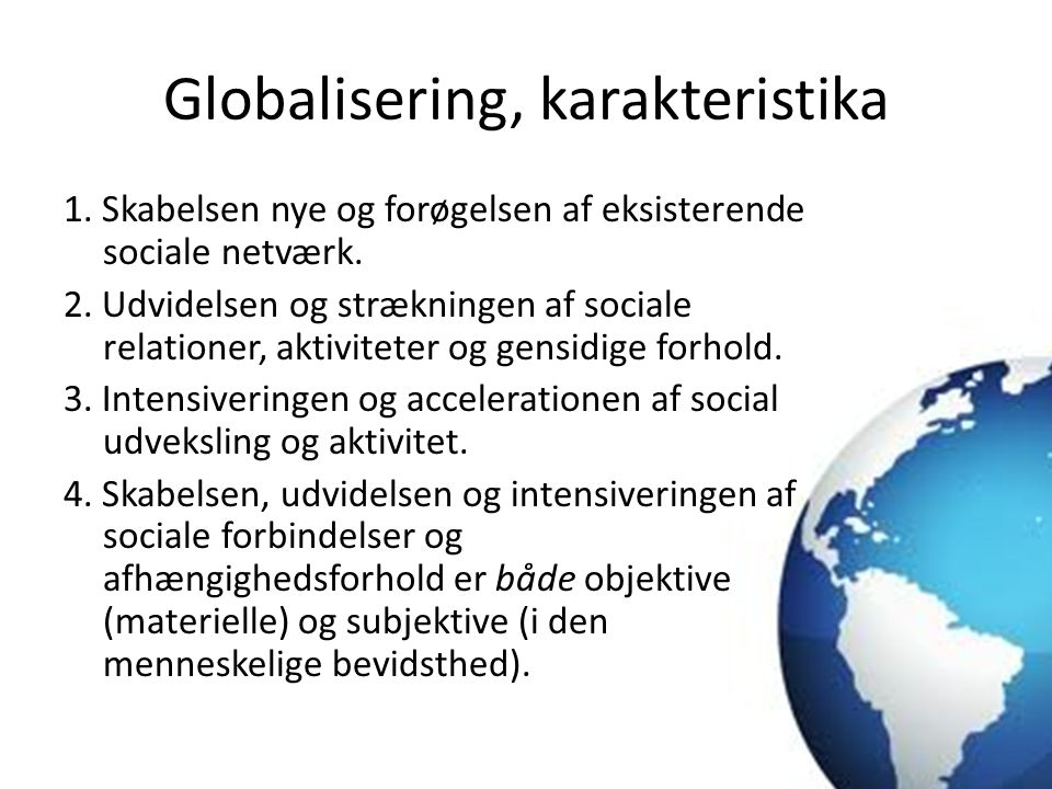 Globalisering, karakteristika