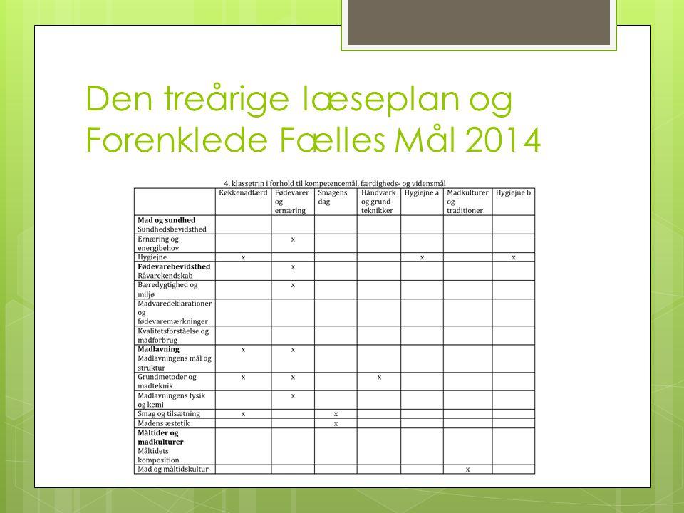 Den treårige læseplan og Forenklede Fælles Mål 2014