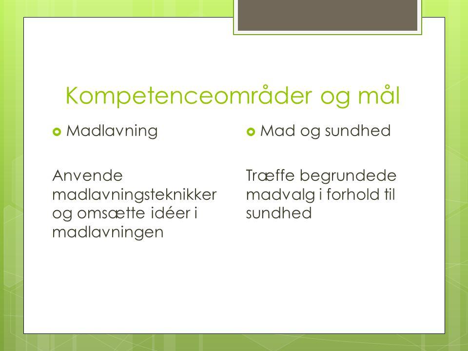 Kompetenceområder og mål