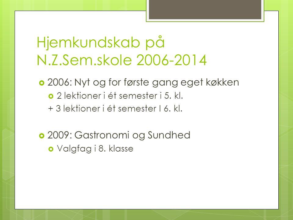 Hjemkundskab på N.Z.Sem.skole 2006-2014