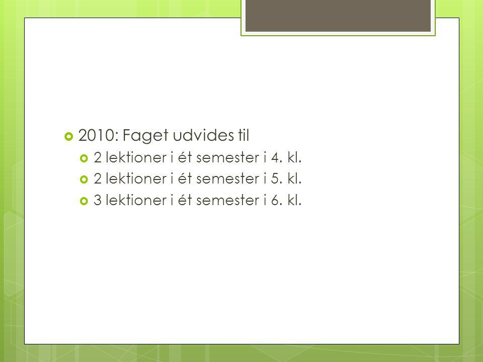 2010: Faget udvides til 2 lektioner i ét semester i 4. kl.