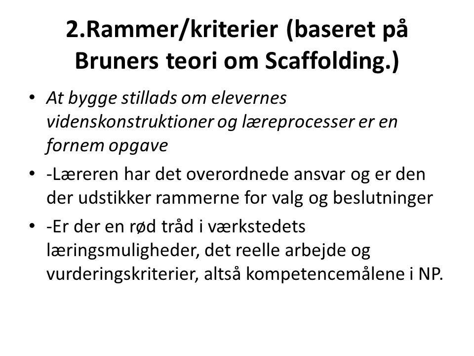 2.Rammer/kriterier (baseret på Bruners teori om Scaffolding.)