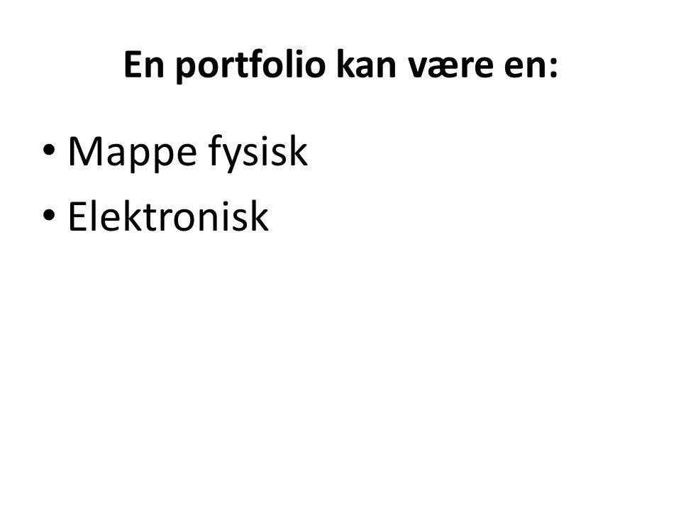 En portfolio kan være en: