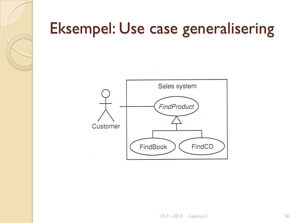 Eksempel: Use case generalisering