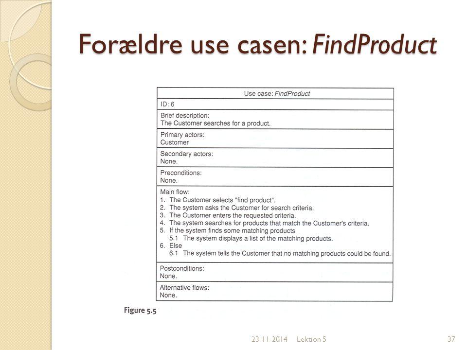 Forældre use casen: FindProduct