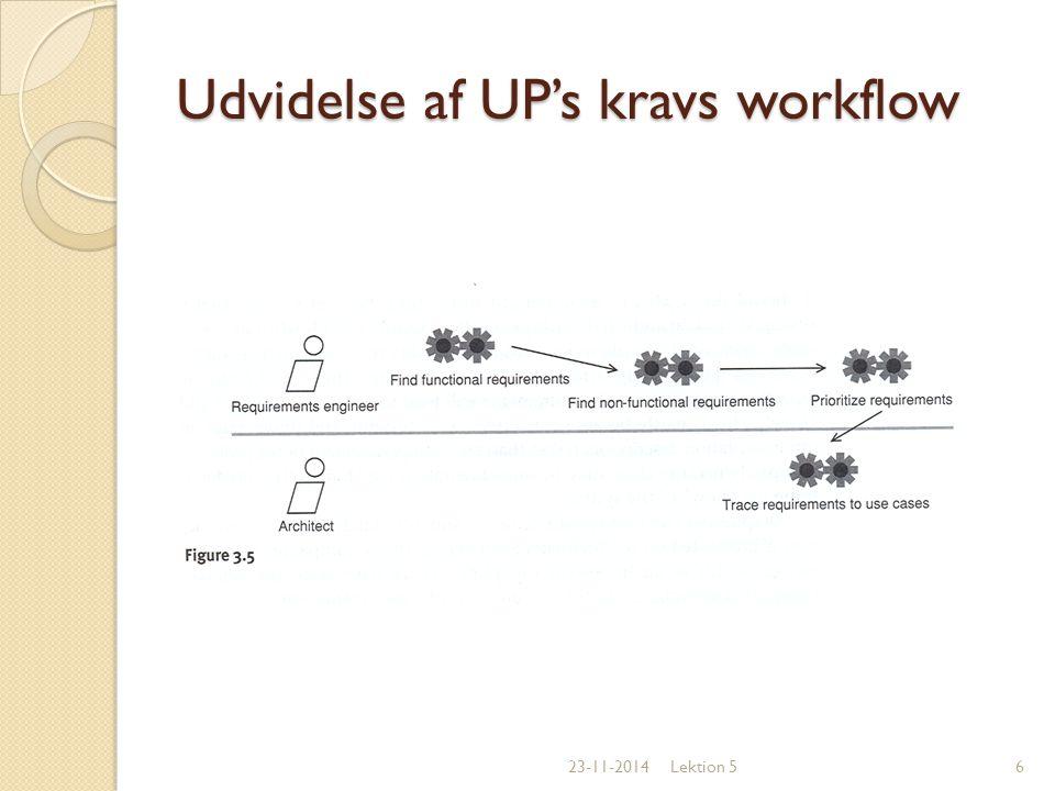 Udvidelse af UP's kravs workflow