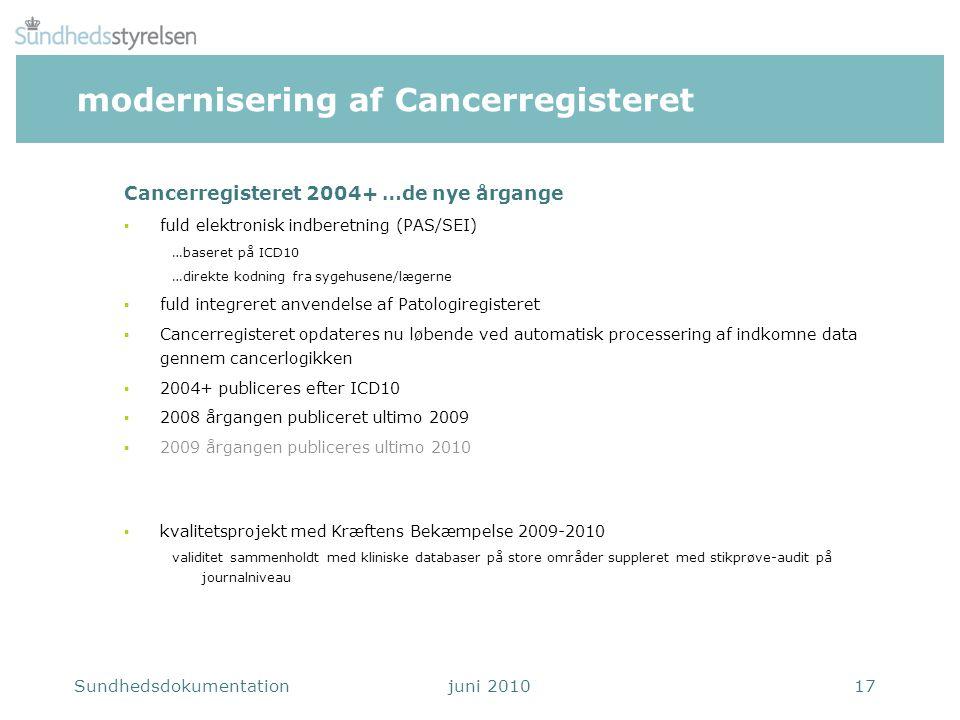modernisering af Cancerregisteret