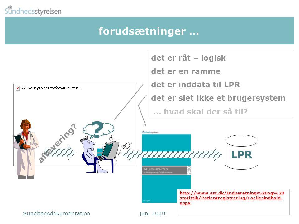 forudsætninger … LPR aflevering det er råt – logisk det er en ramme