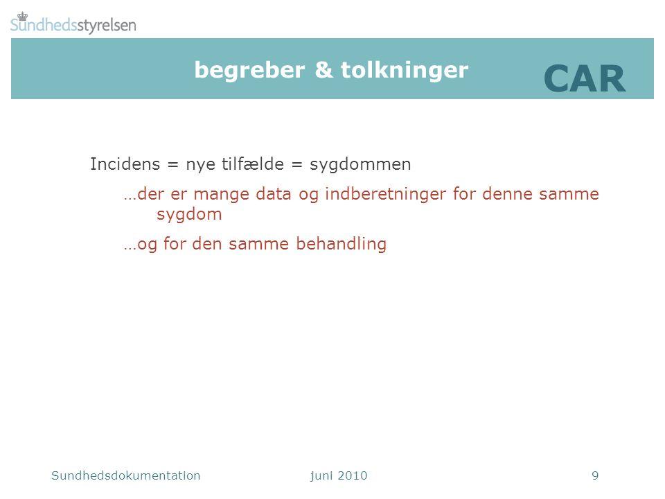 CAR begreber & tolkninger Incidens = nye tilfælde = sygdommen