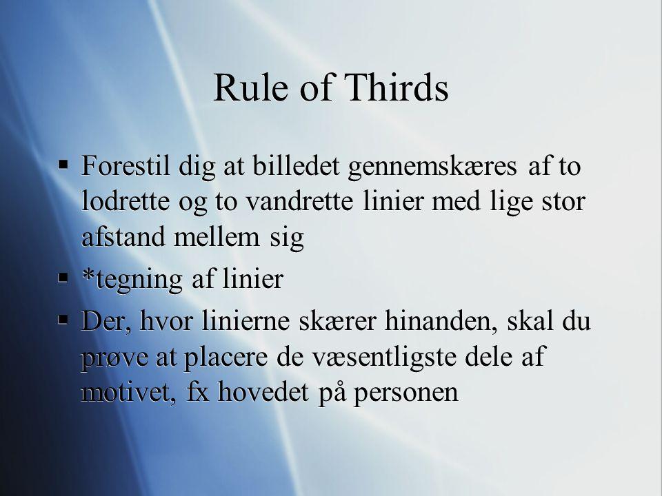 Rule of Thirds Forestil dig at billedet gennemskæres af to lodrette og to vandrette linier med lige stor afstand mellem sig.