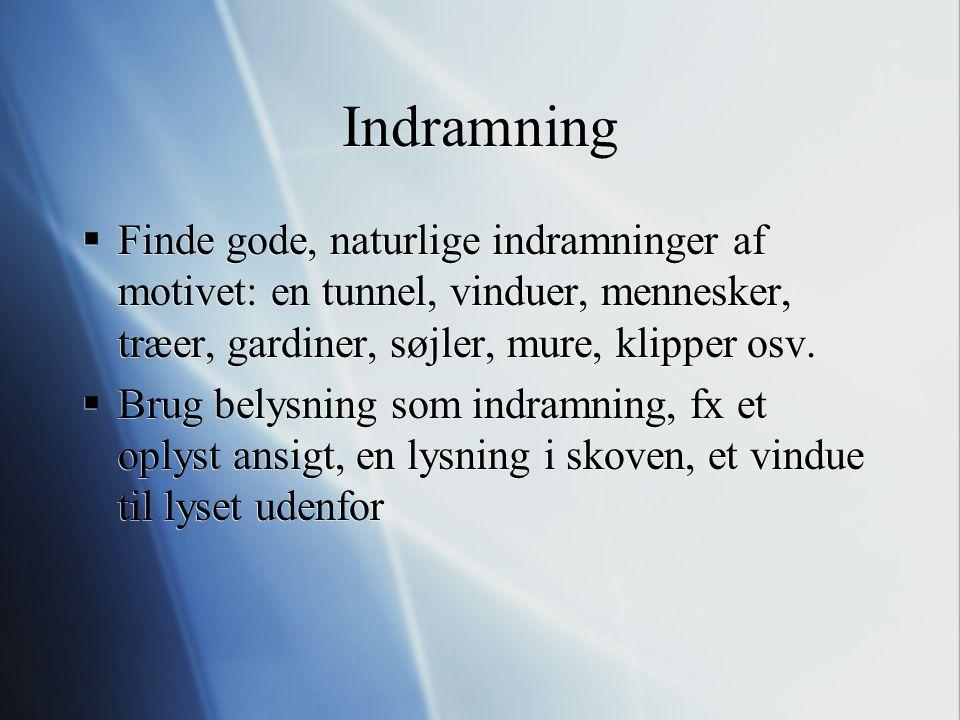 Indramning Finde gode, naturlige indramninger af motivet: en tunnel, vinduer, mennesker, træer, gardiner, søjler, mure, klipper osv.