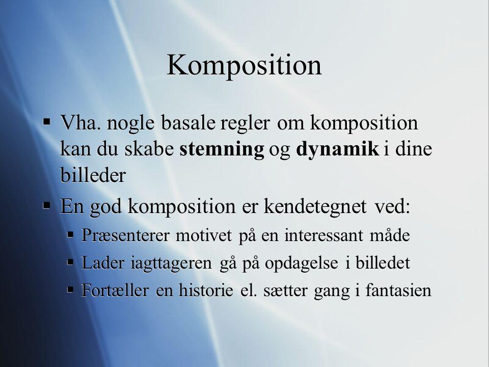 Komposition Vha. nogle basale regler om komposition kan du skabe stemning og dynamik i dine billeder.