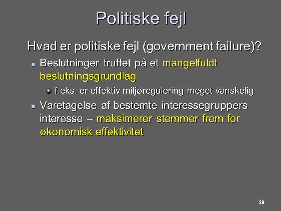 Politiske fejl Hvad er politiske fejl (government failure)
