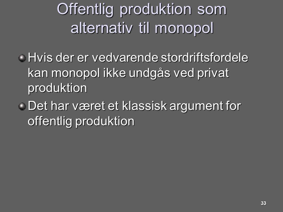 Offentlig produktion som alternativ til monopol
