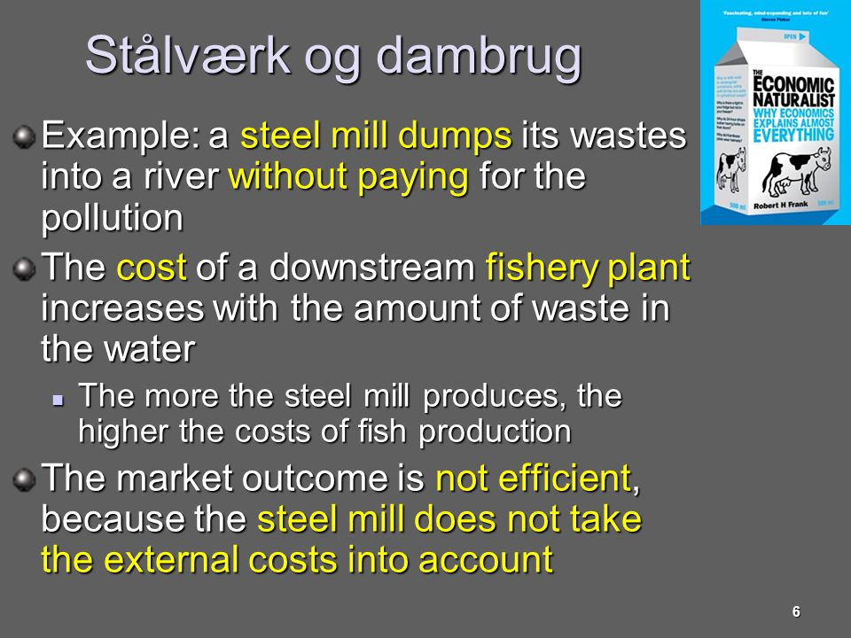 Stålværk og dambrug Example: a steel mill dumps its wastes into a river without paying for the pollution.