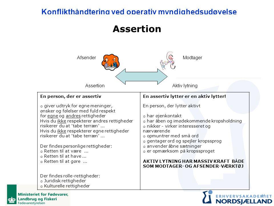 Assertion Afsender Modtager Assertion Aktiv lytning