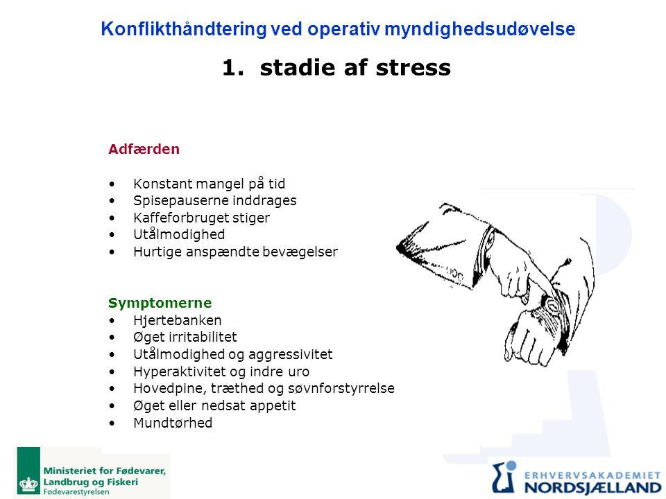 1. stadie af stress Adfærden Konstant mangel på tid