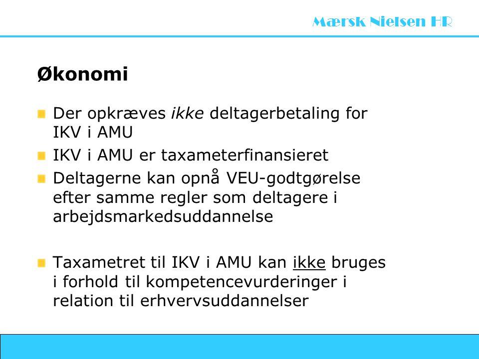 Økonomi Der opkræves ikke deltagerbetaling for IKV i AMU