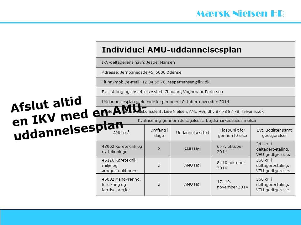 Afslut altid en IKV med en AMU- uddannelsesplan