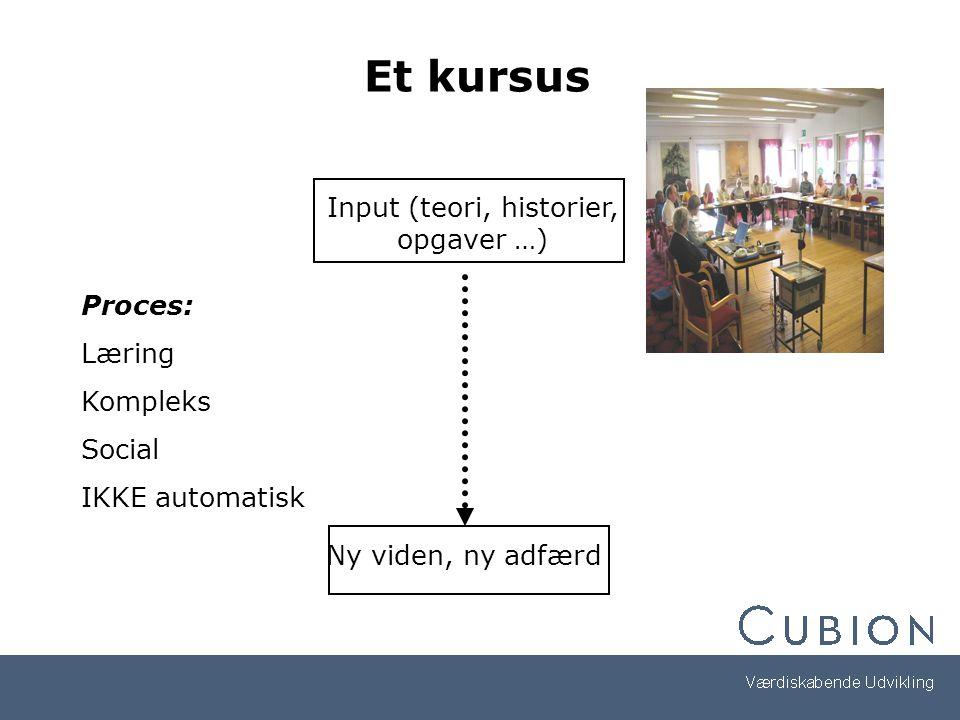 Input (teori, historier, opgaver …)
