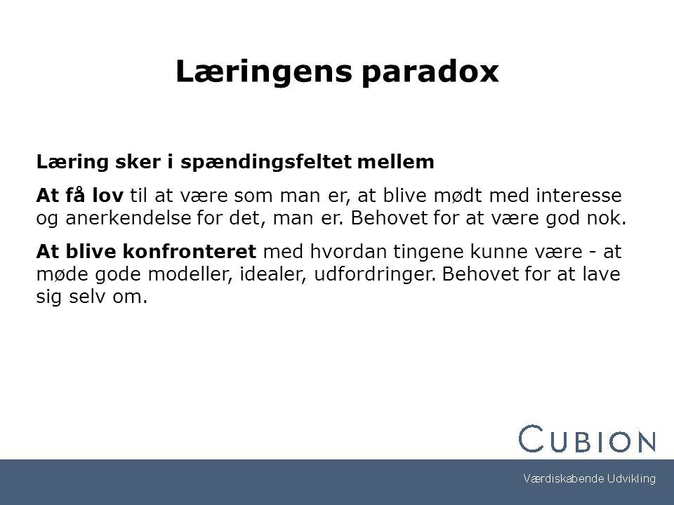 Læringens paradox Læring sker i spændingsfeltet mellem