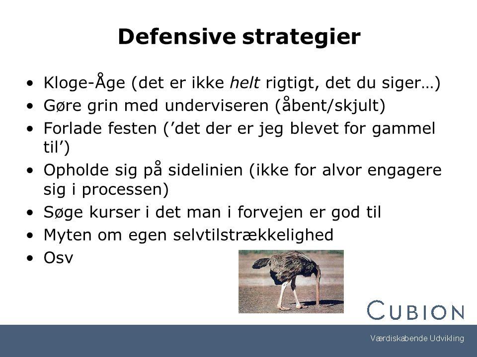 Defensive strategier Kloge-Åge (det er ikke helt rigtigt, det du siger…) Gøre grin med underviseren (åbent/skjult)