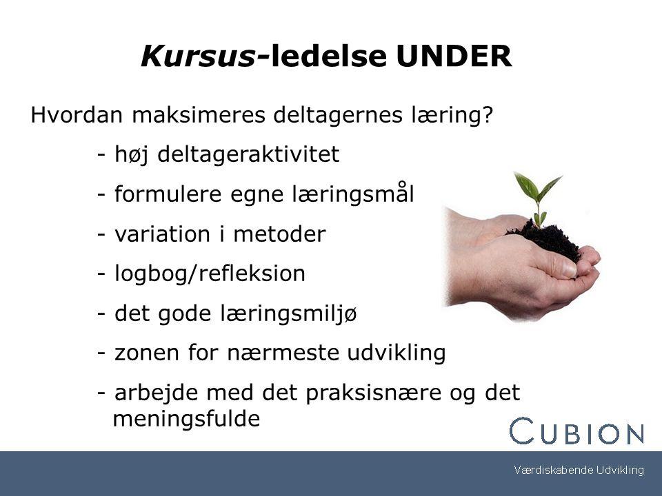 Kursus-ledelse UNDER Hvordan maksimeres deltagernes læring