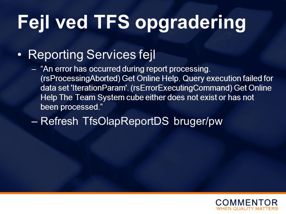 Fejl ved TFS opgradering