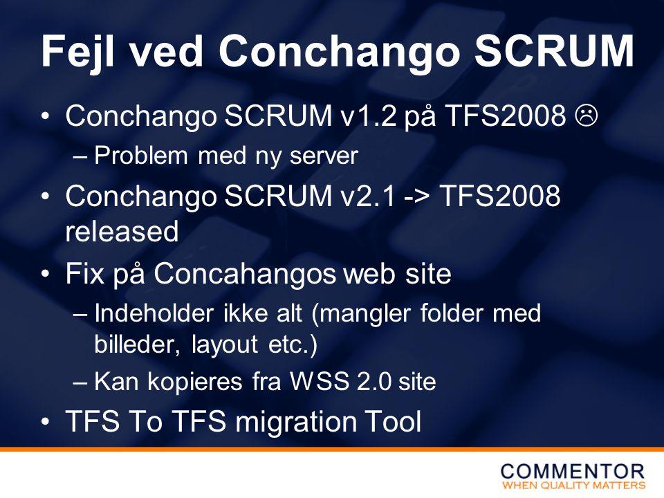 Fejl ved Conchango SCRUM