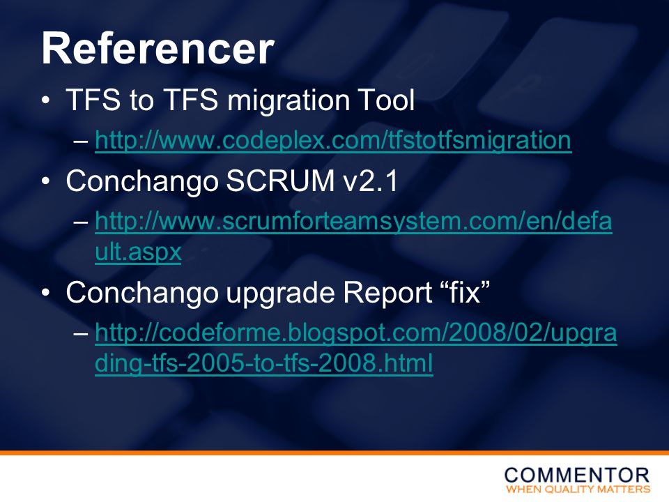 Referencer TFS to TFS migration Tool Conchango SCRUM v2.1