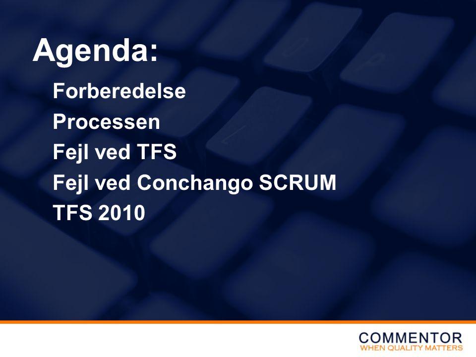 Forberedelse Processen Fejl ved TFS Fejl ved Conchango SCRUM TFS 2010