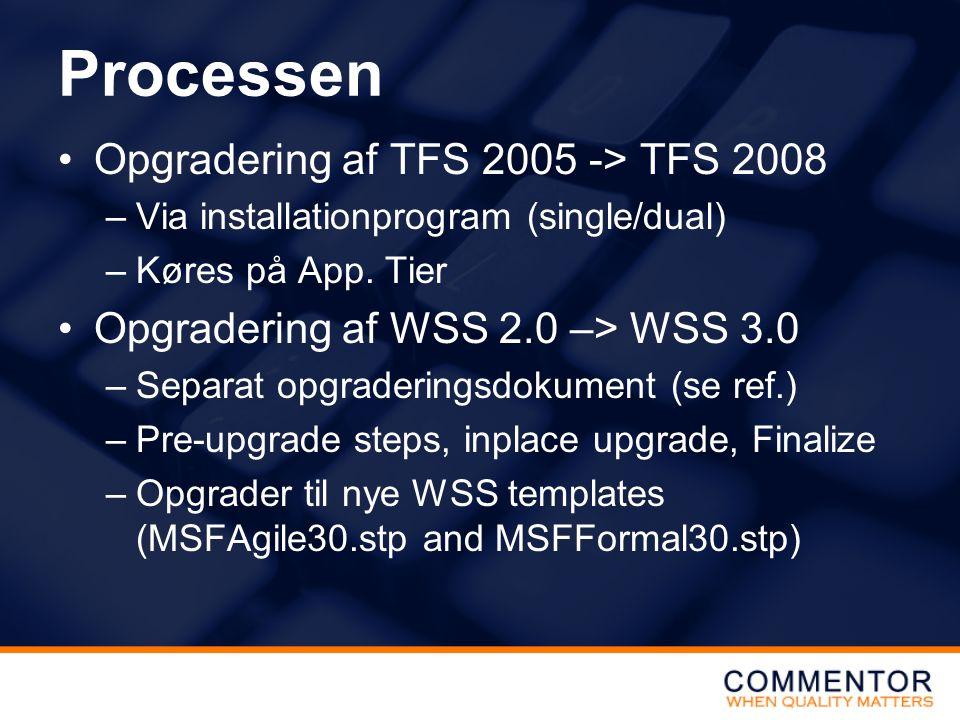 Processen Opgradering af TFS 2005 -> TFS 2008