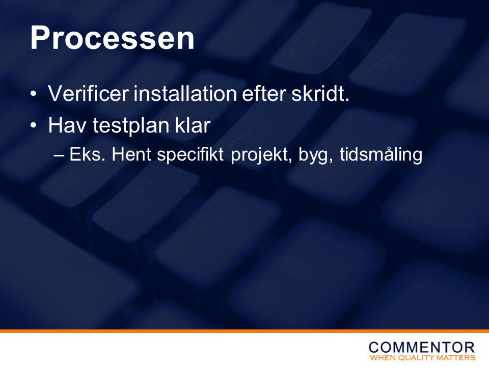 Processen Verificer installation efter skridt. Hav testplan klar